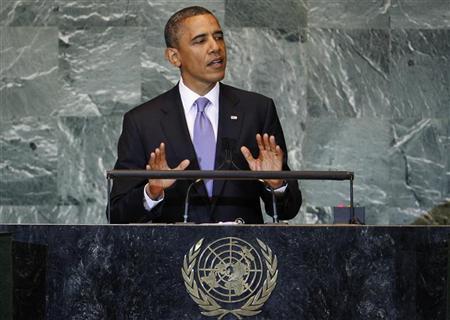 الرئيس الامريكي باراك أوباما يتحدث أمام الجمعية العامة للامم المتحدة في نيويورك يوم الاربعاء. رويترز