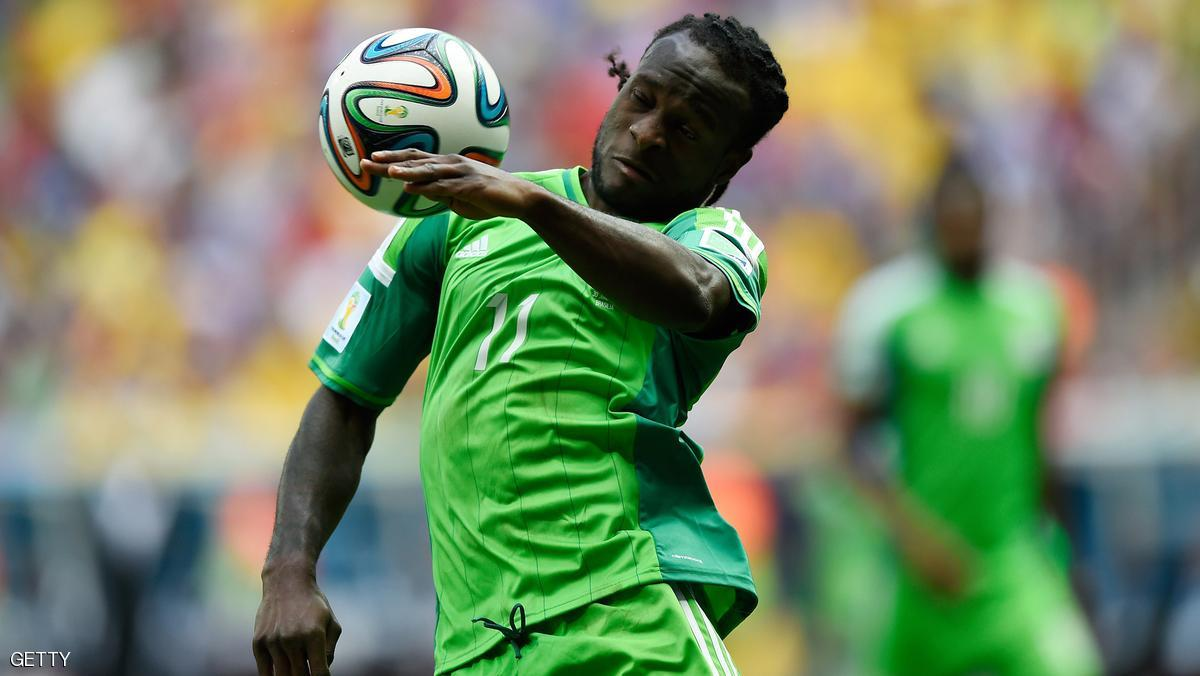 Nigeria's forward Victor Moses plays the ball during a Round of 16 football match between France and Nigeria at Mane Garrincha National Stadium in Brasilia during the 2014 FIFA World Cup on June 30, 2014. AFP PHOTO  / FABRICE COFFRINI        (Photo credit should read FABRICE COFFRINI/AFP/Getty Images)